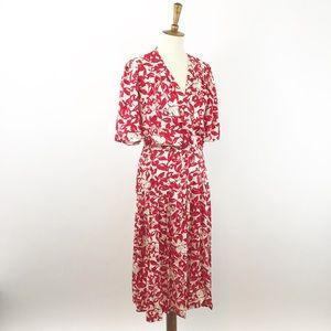 VTG Nordstrom 100% Silk Midi Floral Red Dress